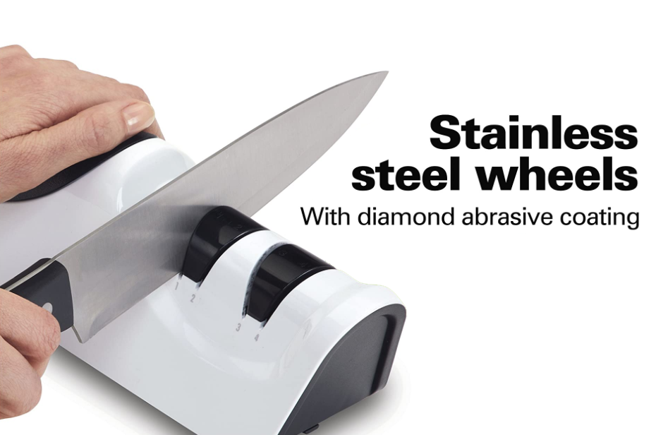 2-Stage Electric Knife Sharpener Diamond Abrasives & Precision Angle Control