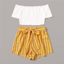Load image into Gallery viewer, Off Shoulder Rib-Knit Crop Top and Self Belted Striped Shorts Set