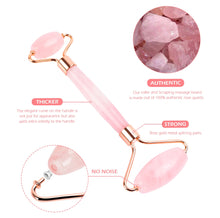 Load image into Gallery viewer, Rose Quartz Roller Slimming Face Massager Lifting Tool