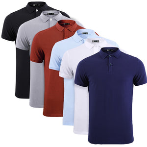 Solid Colored Polo Shirt Short Sleeve