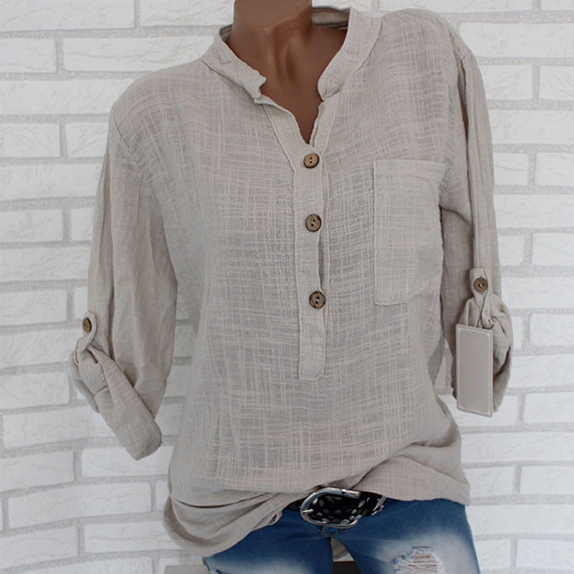 Womens Cotton Linen Stand Collar Shirt Solid Pocket