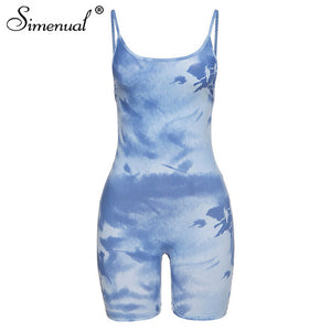 Ribbed Tie Dye Women Rompers Strap Sleeveless Workout