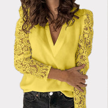 Load image into Gallery viewer, V-neck Lace Hollow Out Blouse