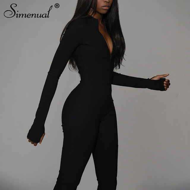 Simenual Casual Fitness Sporty Rompers Zipper Long Sleeve