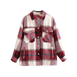 Plaid Women Oversize Soft Wool Shirts