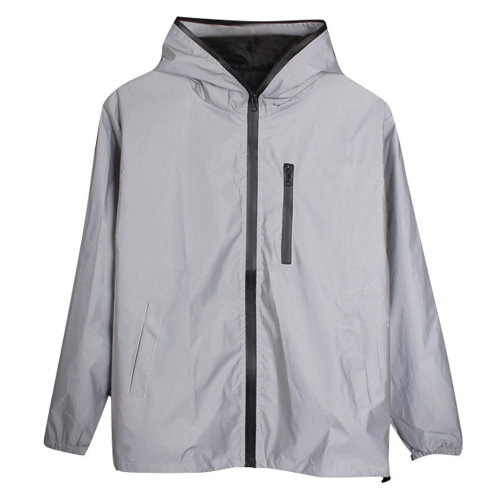 Long Sleeved Reflective jacket men / women windbreaker jackets