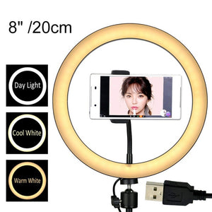 12/10/8 Inch Photography LED Ring Light With Phone Holder