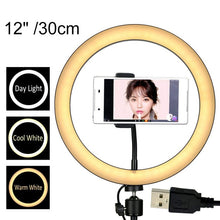 Load image into Gallery viewer, 12/10/8 Inch Photography LED Ring Light With Phone Holder
