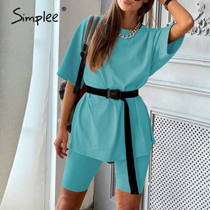 Women's two piece suit with belt