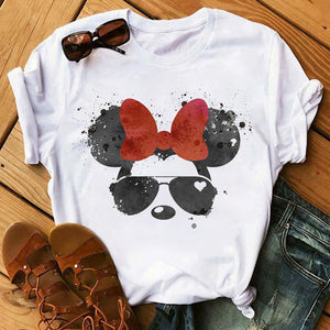 Women's Tops T-Shirts Mickey Mouse Print Short Sleeve