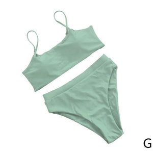 Solid Color Bikini Waist High Swimwear