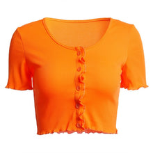 Load image into Gallery viewer, Ruffle Sleeve Crop Top