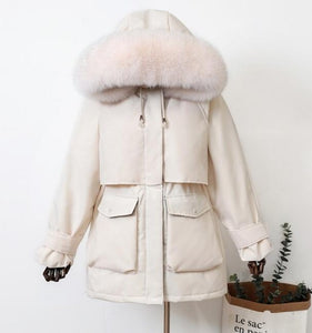 Natural Raccoon/Fox Fur Hooded Winter Down Coat