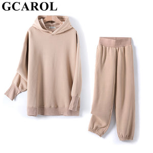 Women Hooded Suits 80% Cotton Fleece Oversized Boyfriend Sweatshirt Elastic Waist Harem Pants