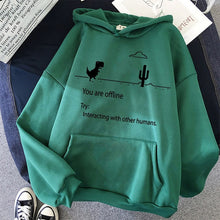 "Load image into Gallery viewer, Cartoon Dinosaur Hoodies ""You are Offline"""