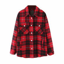 Load image into Gallery viewer, Plaid Women Oversize Soft Wool Shirts