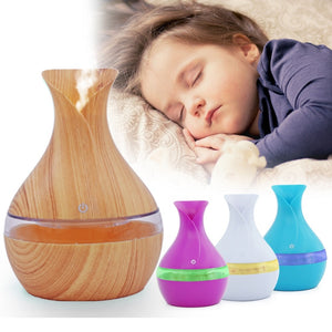 200ML USB Aroma Air Diffuser Wood Ultrasonic Air Humidifier Essential Oil Aromatherapy Cool Mist Maker for Home Office