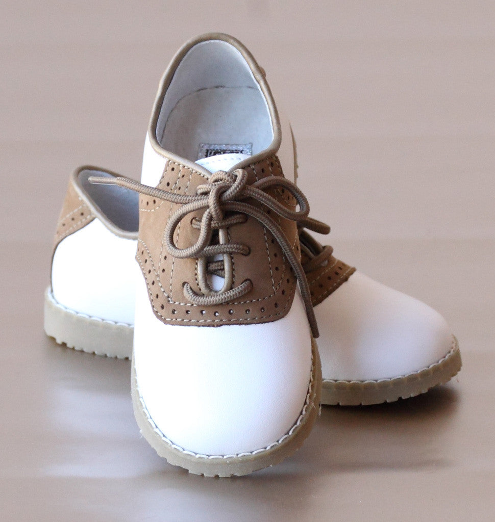 L'Amour Boys Nubuck White/Khaki Saddle Oxford Shoes