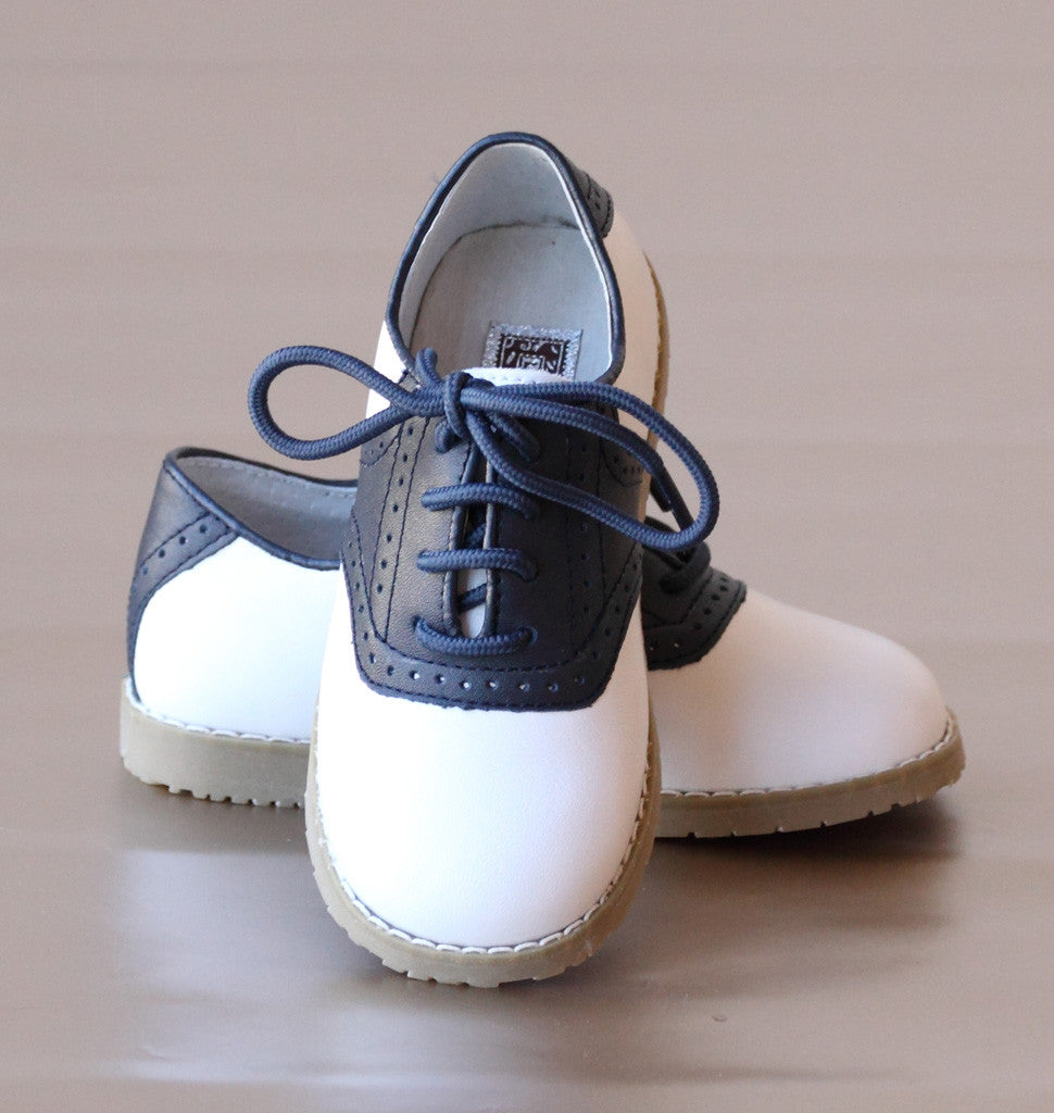 Amour Boys Navy Saddle Oxford Shoes Petit Foot