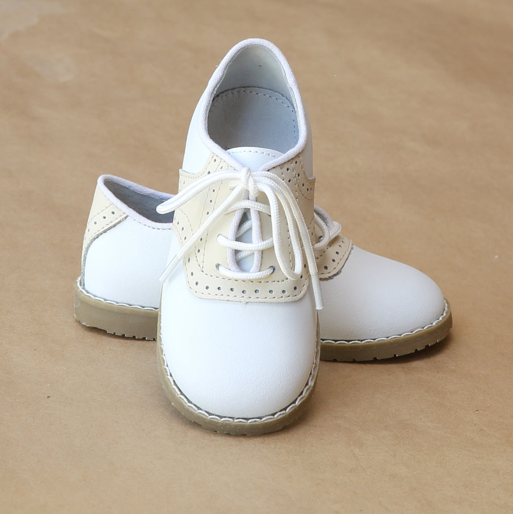 L'Amour Boys Beige Saddle Oxford Dress Shoes - Petitfoot.com