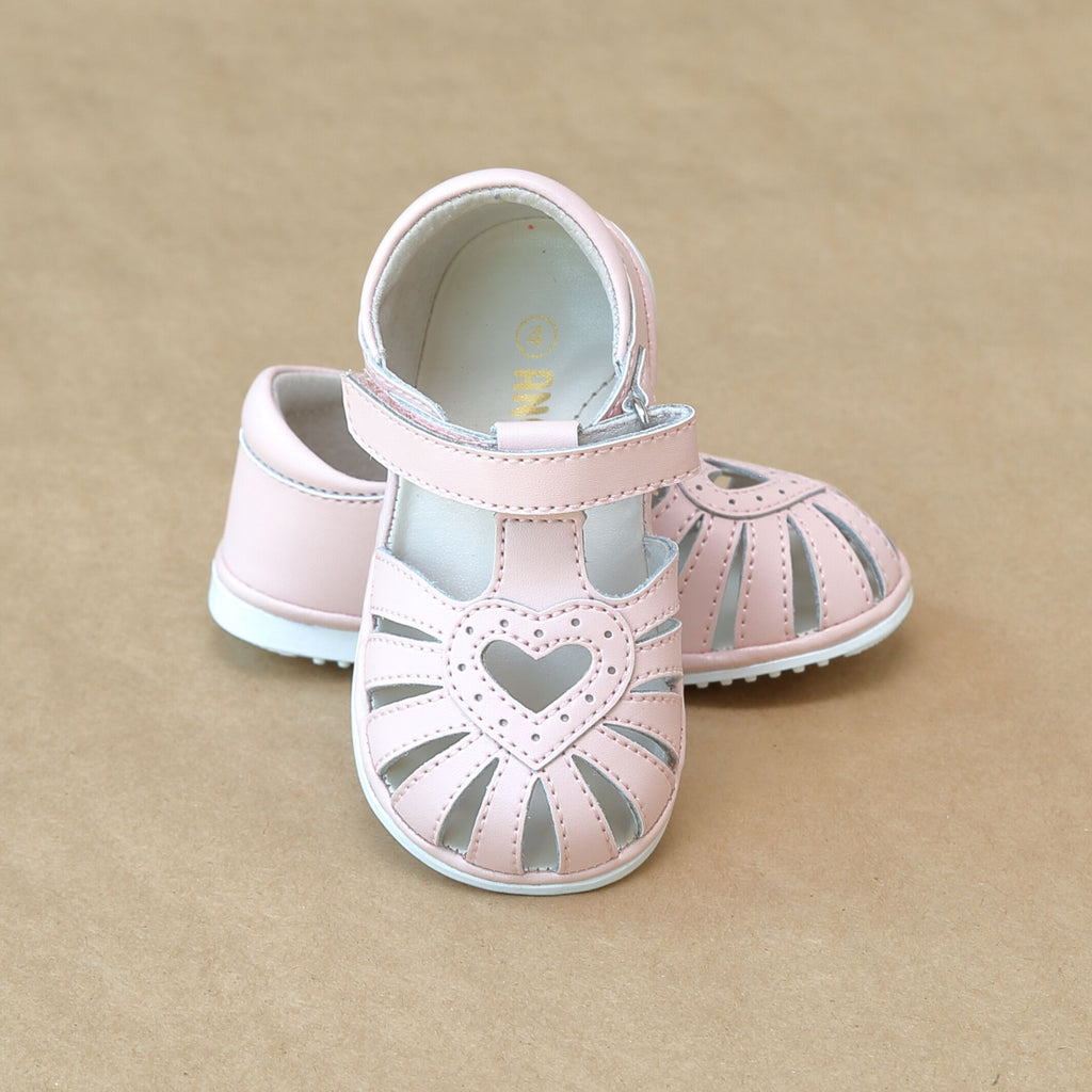 Baby Girls Pink Open Heart Caged Leather Sandal - Petit Foot