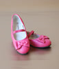 L'Amour Girls Fuchsia Leather Scalloped Bow Ballet Flat