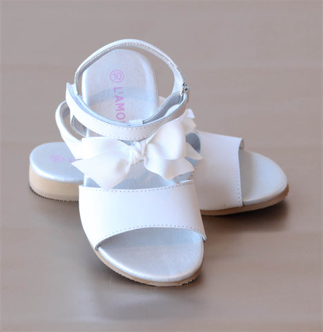 L'Amour Girls Toe Strap Grosgain Bow Sandal