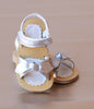 L'Amour Girls Silver Tied Bow Sandal