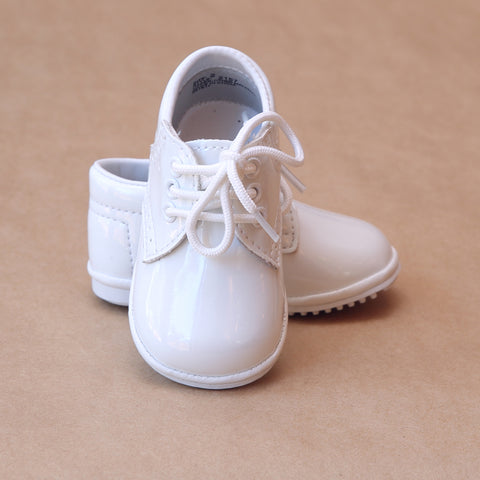 Angel Baby Boys Classic Patent White Lace Ups