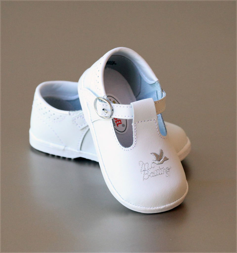 Angel Baby Girls White Leather Mi Bautizo Baptism Mary Jane