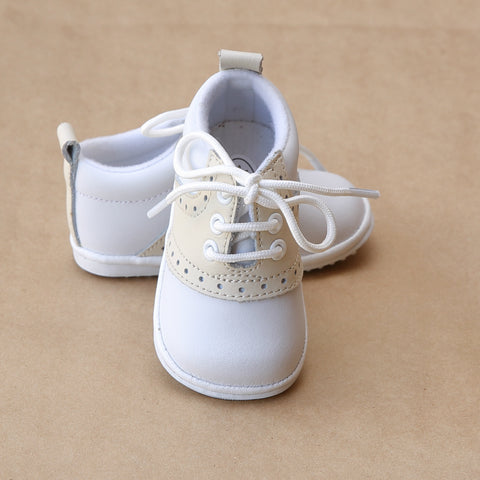 Angel Baby Boys Beige Leather Lace Up Saddle Oxford Shoe