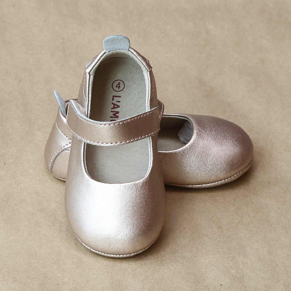 L'Amour Baby Girls Copper Leather Crib Mary Jane - petitfoot.com
