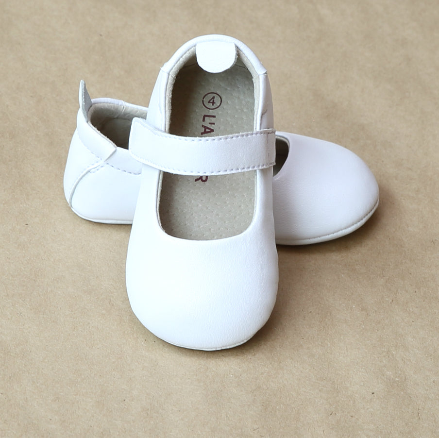 L'Amour Baby Infant Girls White Leather Classic Crib Mary Jane - Petitfoot.com
