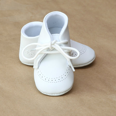L'Amour Infant Boys White Leather Boot Crib Shoe