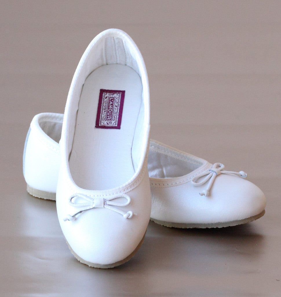 L'Amour Girls White Leather Ballet Bow Flats