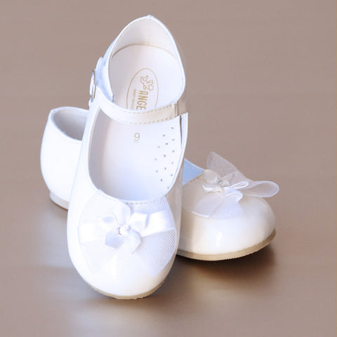 Angel Baby Girls Patent White Bow Mary Jane