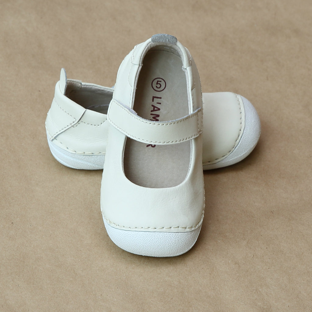 L'Amour Girls Early Walker Cream Mary Jane - Petitfoot.com