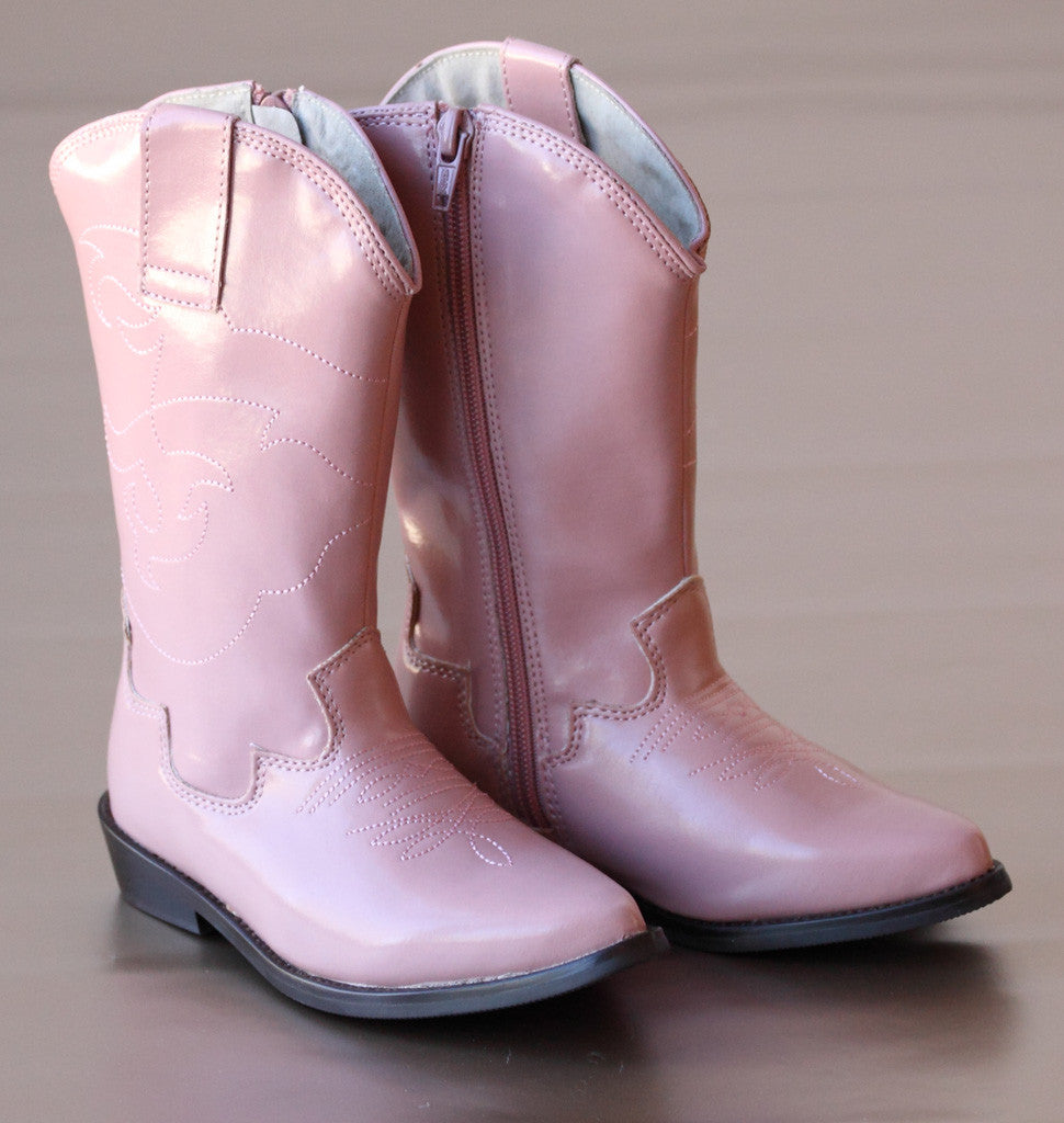 L'Amour Girls Pink Embroidered Western Cowgirl Boots
