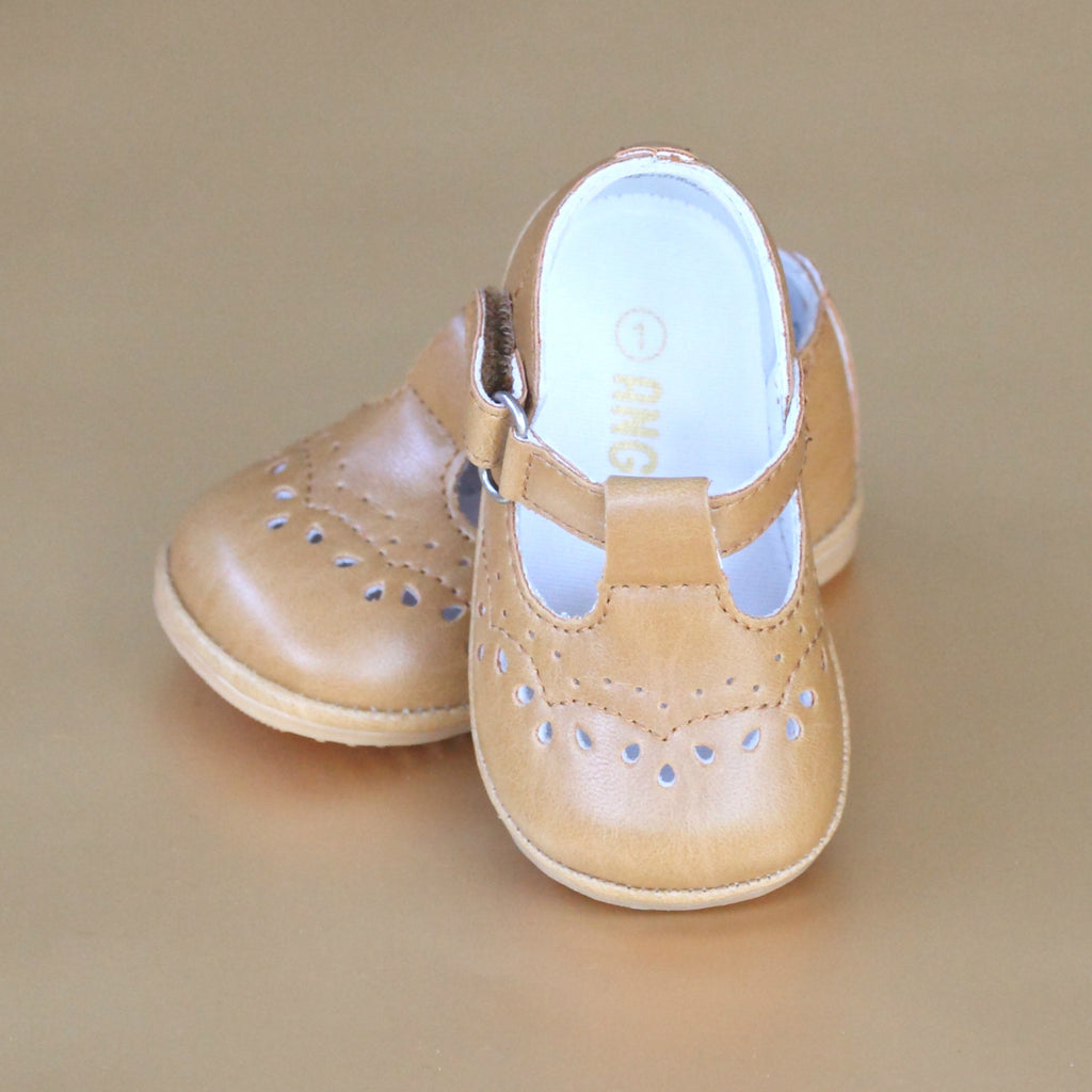 Angel Baby Girls Mustard Golden Yellow T-Strap Leather Mary Janes