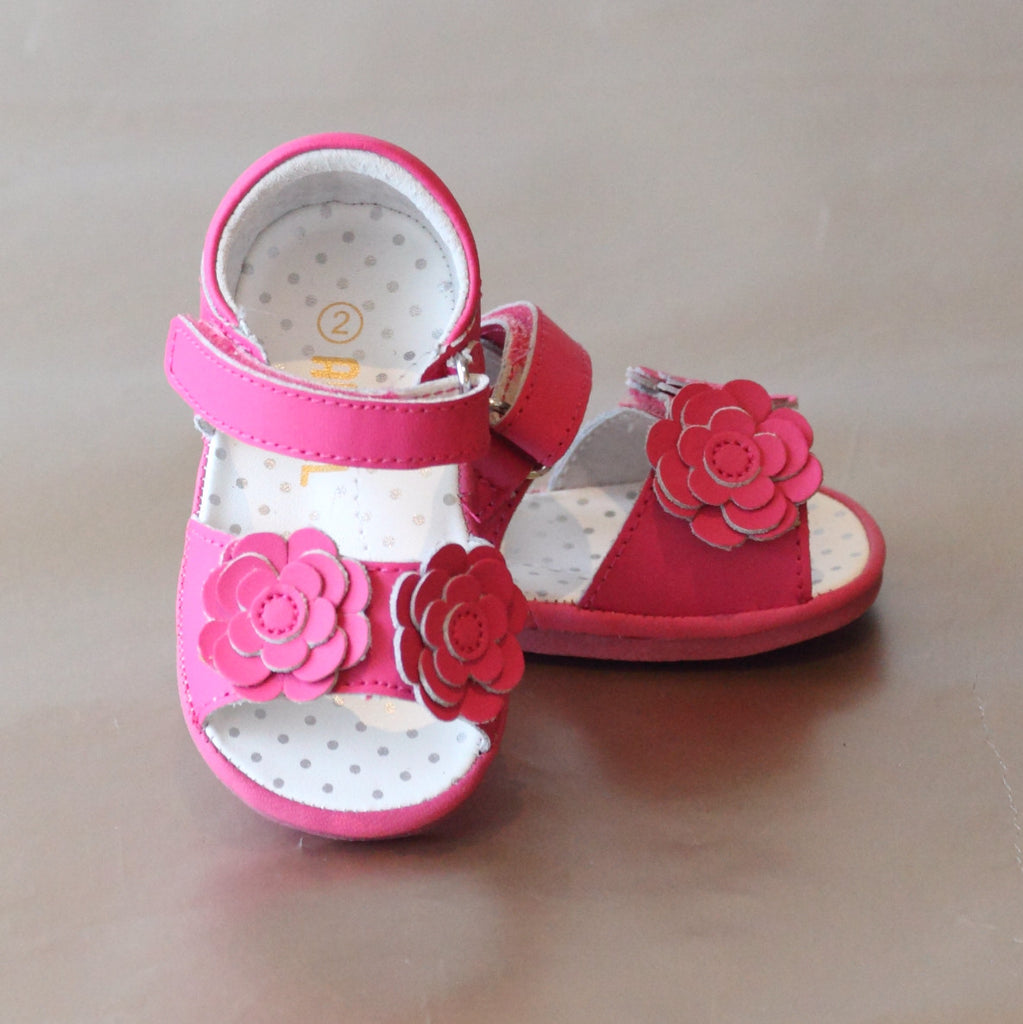 Angel Baby Girls Fuchsia Double Flower Applique Sandal
