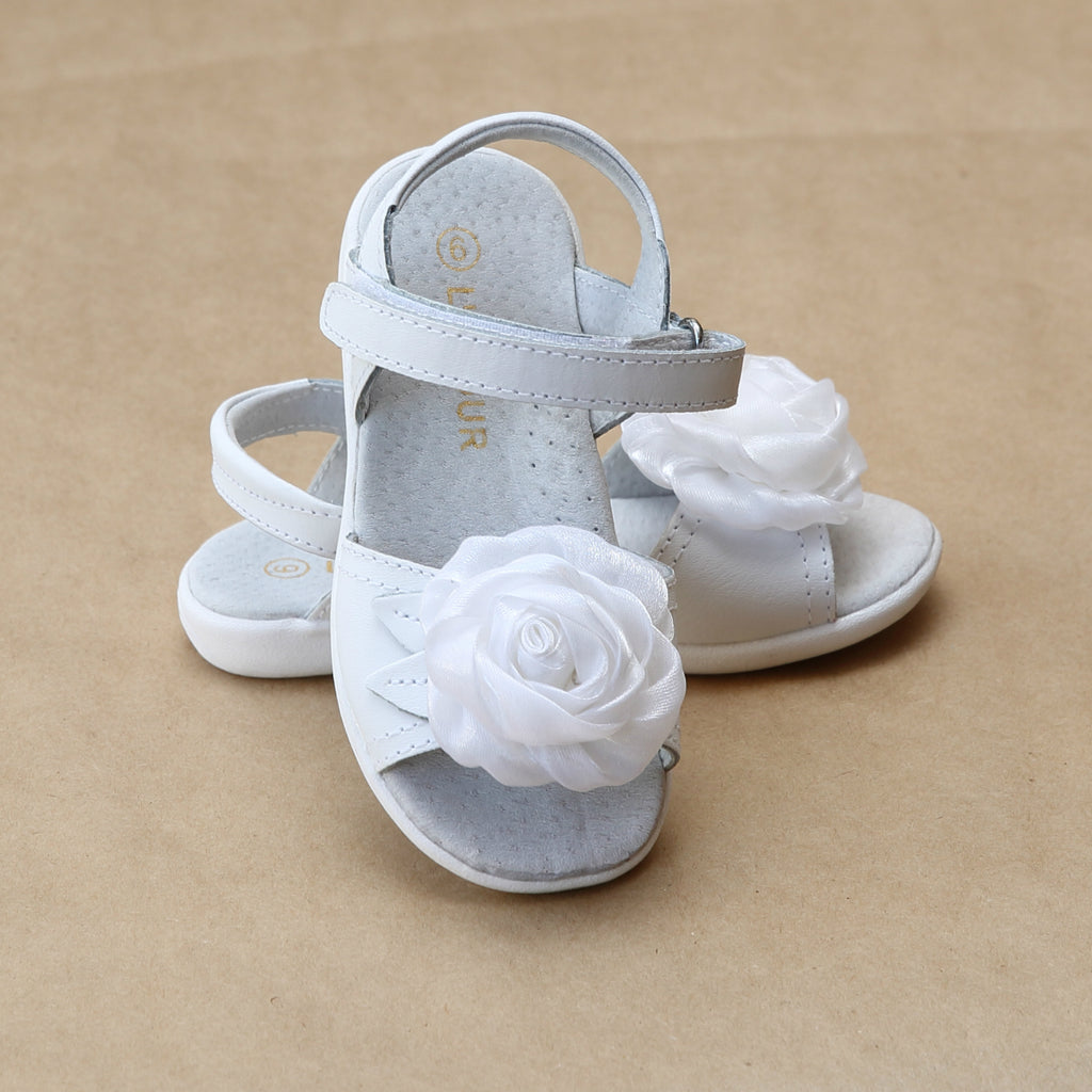 L'Amour Girls White Satin Rose Sandal - Petitfoot.com