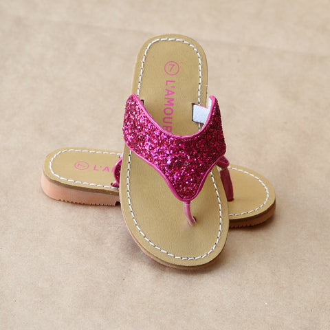 L'Amour Girls Glitter Thong Sandal