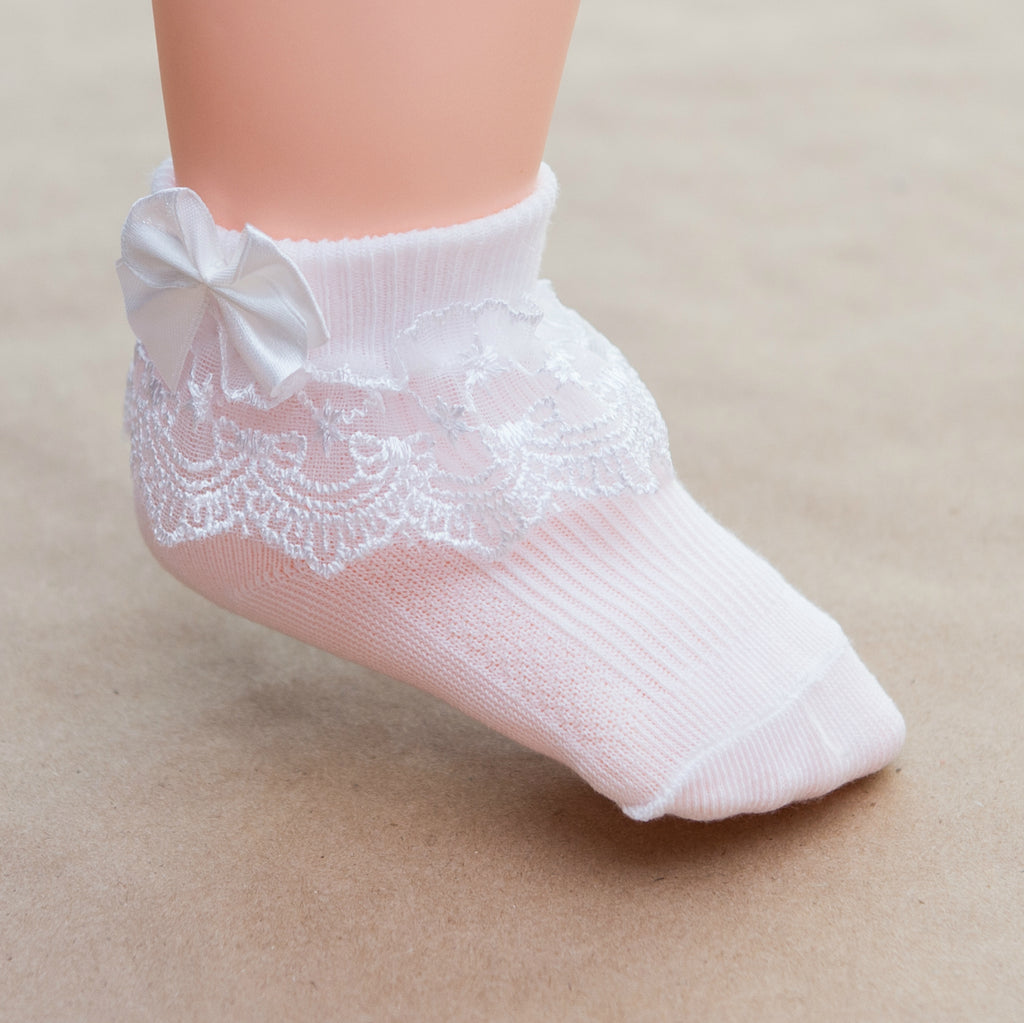Baby Girls White Christening Baptism Socks with Lace and Bow - Petitfoot.com