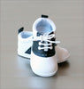Angel Baby Boys Black Leather Lace Up Saddle Oxford Shoe