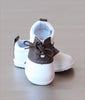 Angel Baby Boys Brown Leather Lace Up Saddle Oxford Shoe