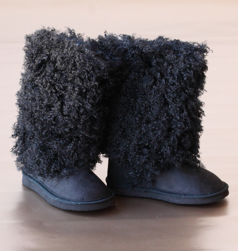 L'Amour Girls Black Faux Shearling Boots