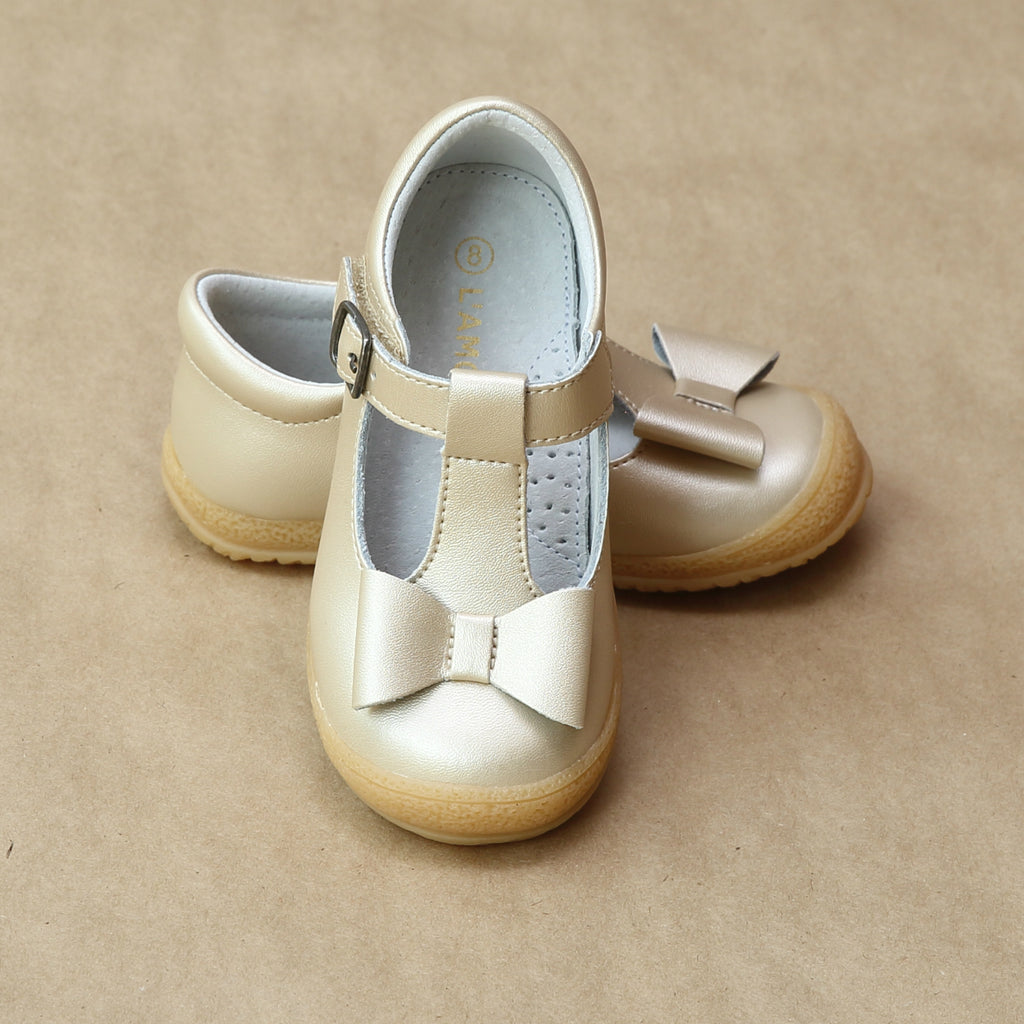 L'Amour Girls Champagne Leather Stitched Bow T-Strap Mary Jane - Petitfoot.com