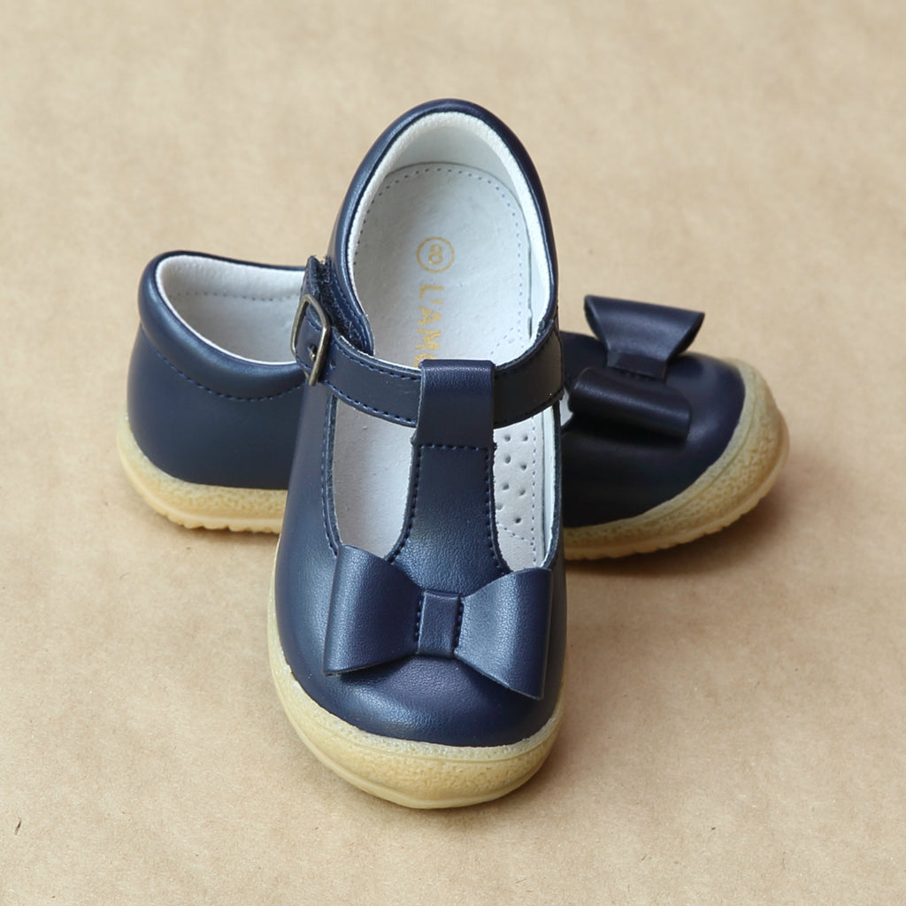 L'Amour Girls Navy Leather Stitched Bow Mary Jane - petitfoot.com