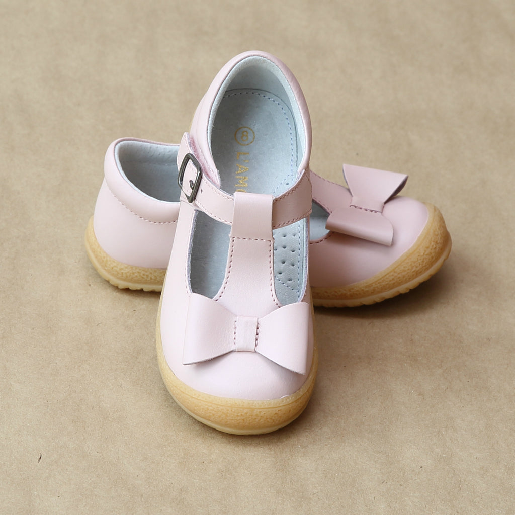 L'Amour Girls Pink Stitched T-Strap Bow Mary Jane - Petitfoot.com