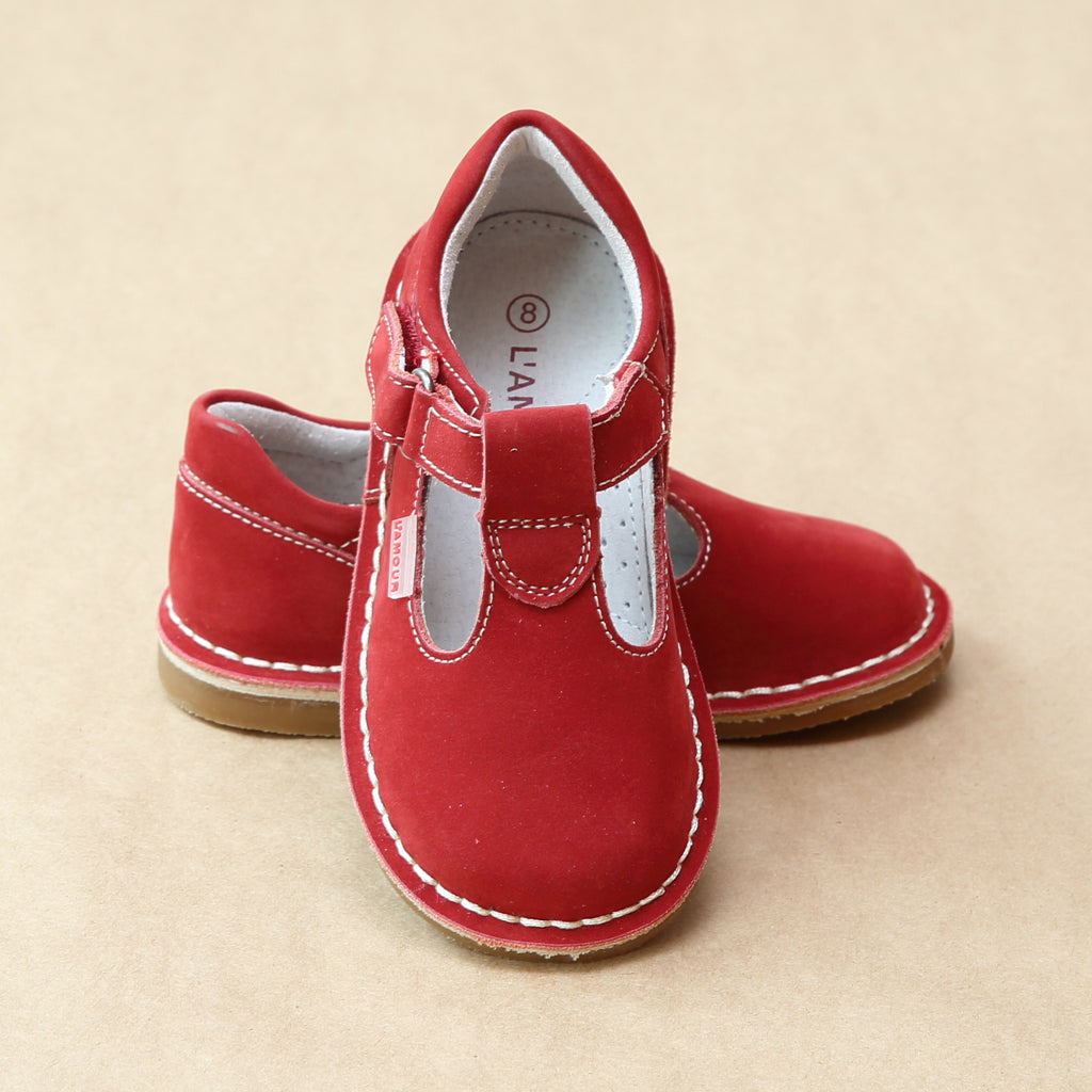Girls Nubuck Red Leather T-Strap Stitch Down School Mary Jane by L'Amour Shoes - Petitfoot.com